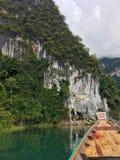 Cheow Lan lake and cave at Khao Sok national park, Thailand. Cheow Lan lake, boat and cave at Khao Sok national park, Thailand Stock Photos