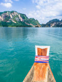 Cheow Lan Lake - Khao Sok National Park, Thailand. Detail of a wooden boat in the Cheow Lan lake, near Khao Sok National Park, Thailand Stock Image