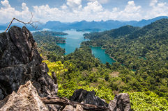 Cheow Lan Lake, Khao Sok National Park. View over Cheow Lan Lake, Khao Sok National Park in southern Thailand Stock Image