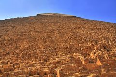 Chephren pyramid. Loking from the base to the top of Chephren pyramid, Egypt (HDR photo stock images