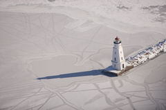Chequamegon Bay Light house in winter Stock Photography