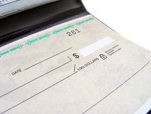 Cheque Book. Closeup of a cheque Book stock photography