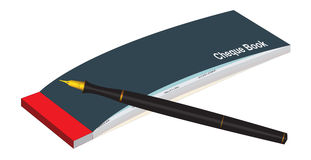Cheque Book & Pen. Illustration of a cheque book and pen Royalty Free Stock Photo