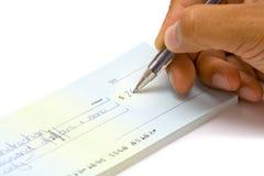 Cheque de assinatura da mão Fotos de Stock