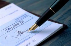 Cheque de firma Foto de archivo