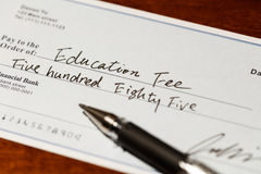 Cheque for education fee Royalty Free Stock Images