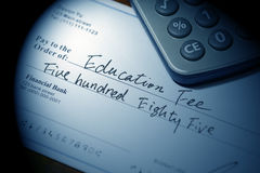 Cheque for education fee Royalty Free Stock Photo