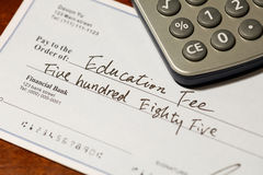 Cheque for education fee Stock Images