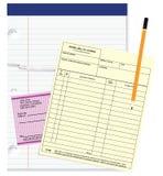 Cheque en ontvangstbewijsspatie Stock Foto's