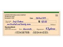Cheque enchido do banco ilustração royalty free