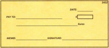 Cheque euro. Fotos de archivo libres de regalías