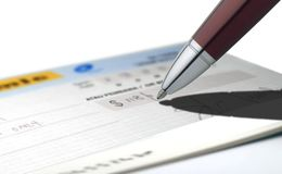 Cheque writing Stock Photos