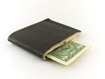 Chequebook velho e um dólar Bill no branco fotografia de stock