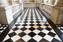 Chequer floor. In museum. Wide angle view stock image