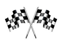 Chequered Checkered Flags Motor Racing. Rippled black and white crossed chequered flag Stock Image