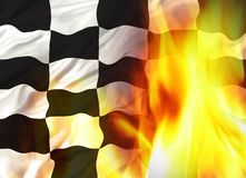 Chequered flag. Winning Chequered flag on fire illustration Royalty Free Stock Image