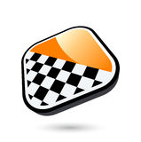 Chequered flag button Royalty Free Stock Photo