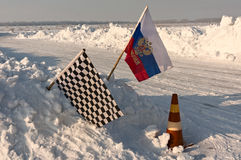 Chequered flag at finish point Stock Image