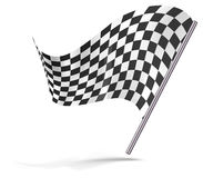 Chequered flag flying. Chequered flag flying isolated on white Stock Photo