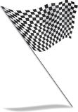 Chequered flag flying with shadow. Royalty Free Stock Photo