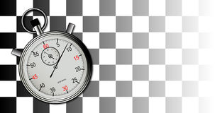 Chequered Flag and Stop Watch. A racing chequered flag with stop watch on a faded background Stock Photo