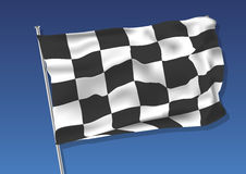 Chequered flag vector. Chequered flag waving on the sky. vector illustration eps 10. gradient mesh Stock Photography