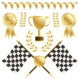 Chequered flags. And gold winners rosettes and trophy, isolated on white vector illustration