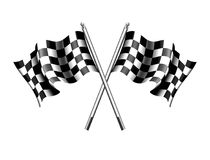 Checkered, Chequered Flags Motor Racing, Sport, Start or Finish. Checkered Rippled black and white crossed Chequered Flag Royalty Free Stock Image
