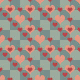 Chequered Pattern With Hearts Stock Photos