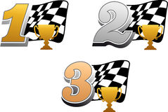 Chequered racing flag with trophy. And golden, silver and bronze numbers vector illustration