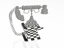 Chequered retro phone Stock Photos