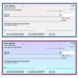 Cheques personales de la seguridad de la filigrana Imagen de archivo libre de regalías