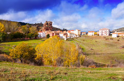 Chequilla and Checa in autumn. Alto Tajo, Spain Stock Photos