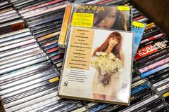 Cher CD album Love Hurts 1991 on display for sale, famous American singer, actress. Nadarzyn, Poland, May 11, 2019: Cher CD album Love Hurts 1991 on display for royalty free stock image
