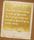 Cher vintage de grunge de carte d'un dieu Images libres de droits