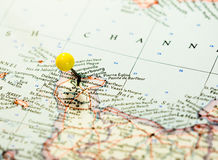 Cherbourg Γαλλία που καρφώνεται στο χάρτη διαδρομών Στοκ Εικόνες