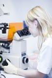 Chercheur féminin faisant la recherche dans un laboratoire Image stock