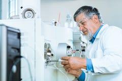 Chercheur mâle aîné dans un laboratoire Photographie stock