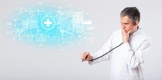 Chercheur professionnel avec le st?thoscope image stock