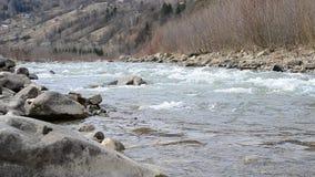Cheremosh river in Verkhovyna, Ukraine. March 05 stock footage