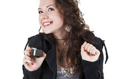 Cherfull young woman has received a gift Stock Image