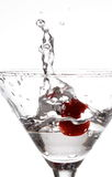 Cheri Martini Splash. Cheri dropped into a martini glass with still water splash Stock Photos