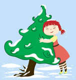 Cheri Love Tree. A little girl character hugging a tree with some snow Stock Photography