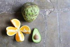 Cherimoya Sliced Orange and Avocado Royalty Free Stock Images