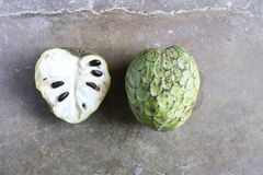 Cherimoya, Whole and Half Royalty Free Stock Photography