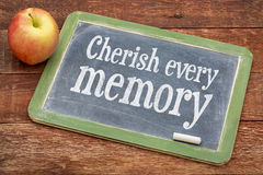 Cherish every memory on slate blackboard Stock Images