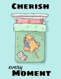 Cherish every moment cute positive postcard. Happy girl vector illustration