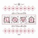 Cherish The Love card with geometrical design on dotted background. Cherish The Love card - Line geometrical design on dotted background Stock Photo