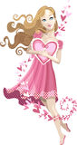 Cherished Valentine. Valentine girl in pink dress with heart Royalty Free Stock Photos