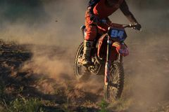 CHERKASSY, UKRAINE - JULAY 7 2017 : rider on Motocross Training of motorcyclists before competitions Ukraine, Cherkassy. CHERKASSY, UKRAINE - JULAY 7 : rider on Stock Photography